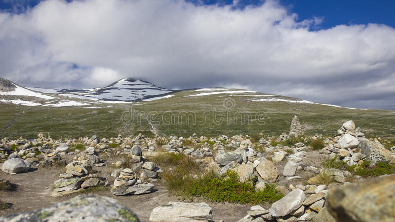 Stone towers in Norway. Many small stone towers stand at the Polarkreis in Norway stock photo