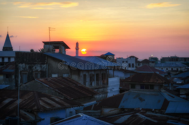 Stone Town Sunset stock photo
