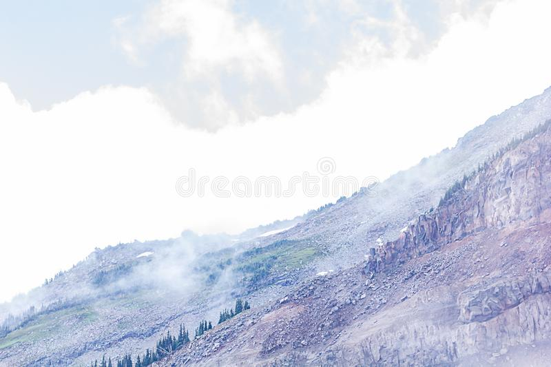 Stone trees and fog create layers of mountain view in soft purples and blues. Near mount rainier naional park stock image