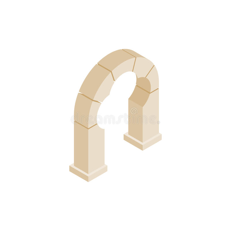 Stone trefoil arch icon, isometric 3d style stock illustration