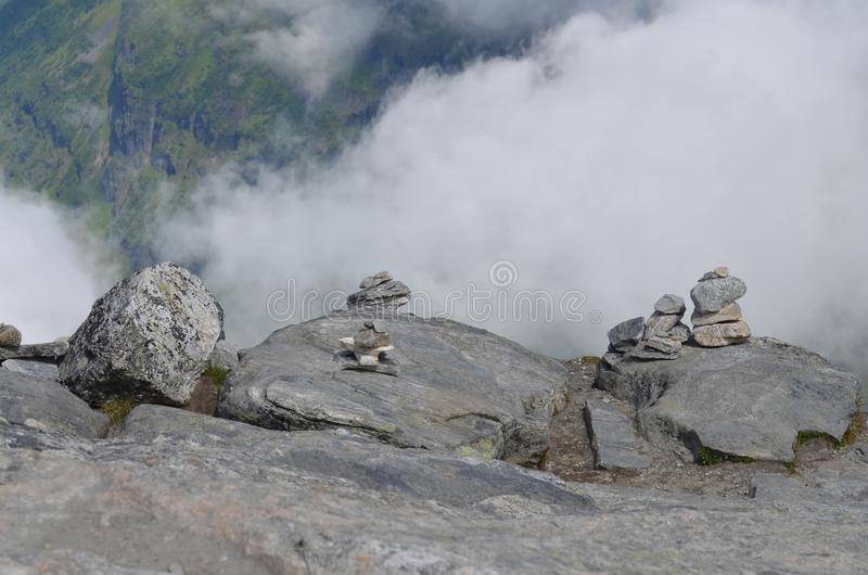 Norway fjords. Stone trolls in Norway fjords. Dalsniba royalty free stock image