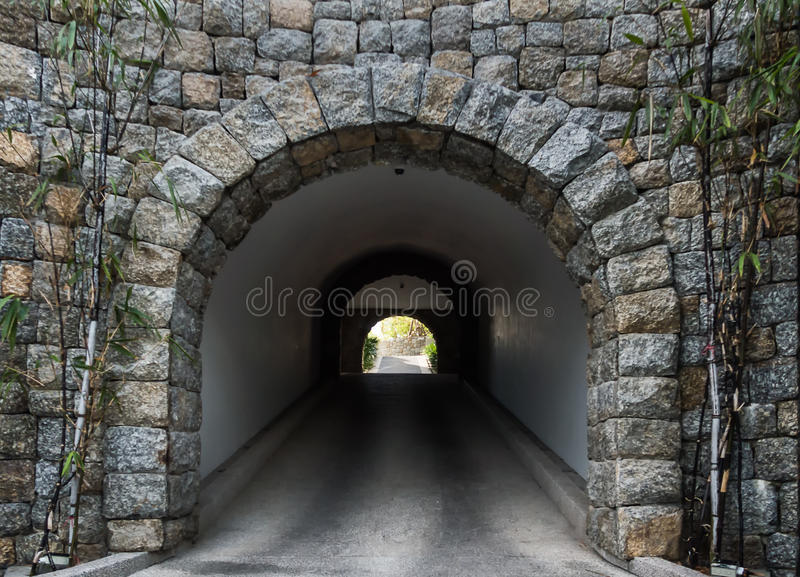 Stone tunnel royalty free stock photo