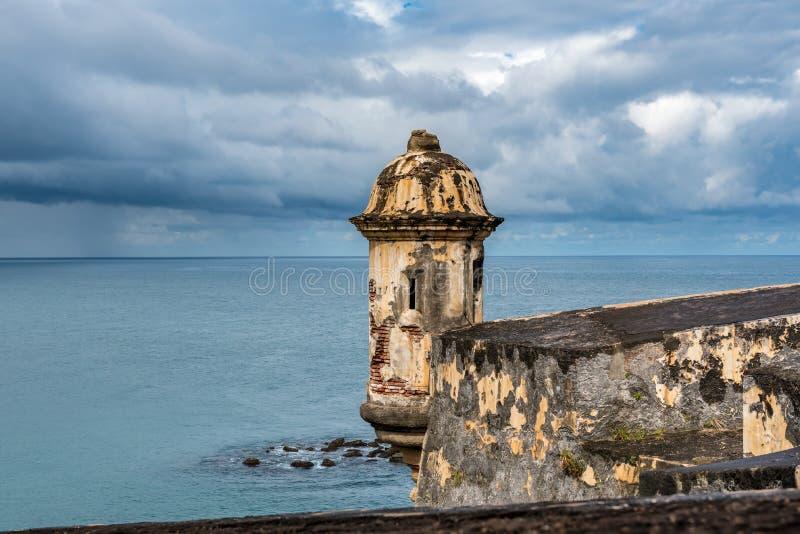 Stone turret on Castillo San Felipe del Morro. With stormy sky and Caribbean sea royalty free stock photo