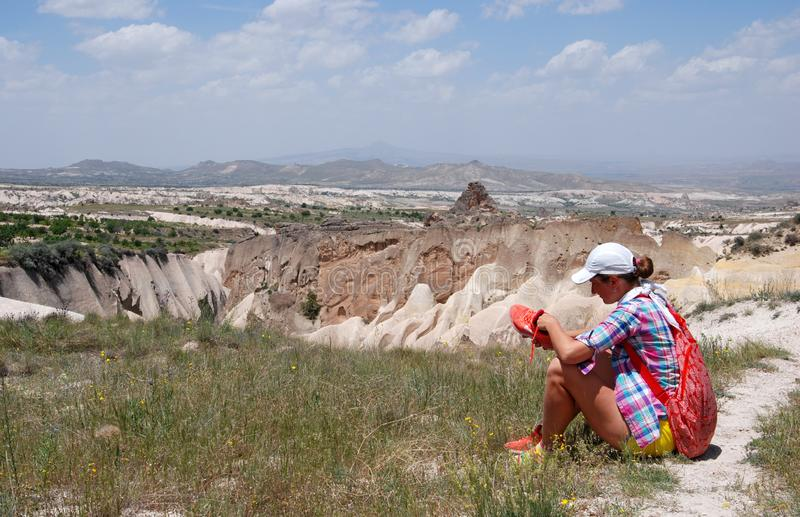 Stone valleys of Cappadocia. In Turkey stock photo