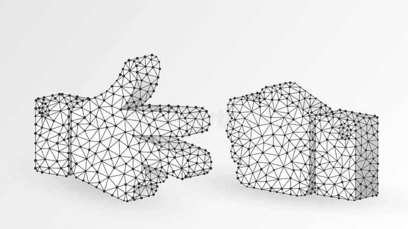Stone versus Scissors hand gesture. Abstract digital wireframe, low poly mesh, polygonal vector white origami 3d vector illustration