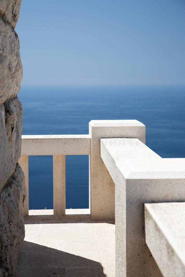 Download Stone Viewpoint And Banister, Ocean View Stock Image - Image of ocean, rock: 20582851