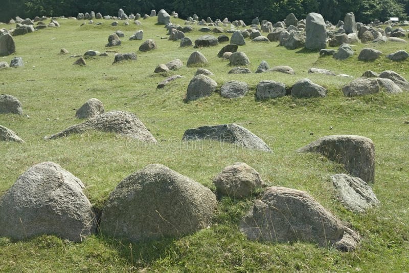 Stone viking graves. Ancient stone viking graves in Aalborg, Denmark stock images
