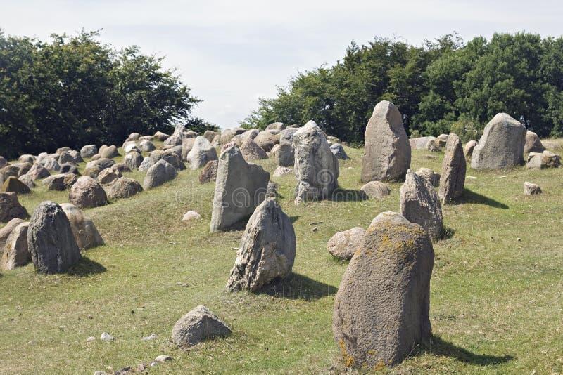 Stone viking graves. Ancient stone viking graves in Aalborg, Denmark stock image
