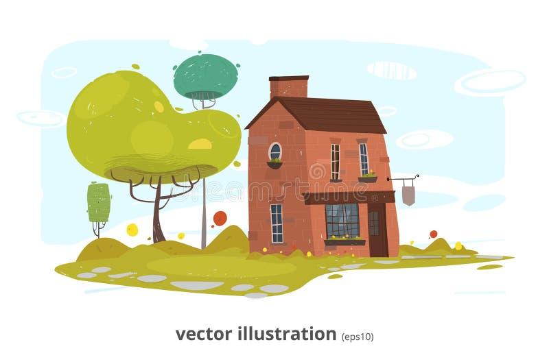 Stone Village or Brick Farm House Illustration stock illustration