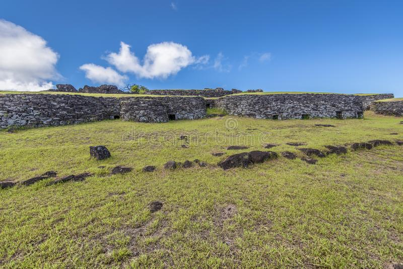 The stone village of Orongo on the volcano Ranu Kau. The ceremonial village of Orongo hosts the competitors of the competition to become the bird man royalty free stock photography