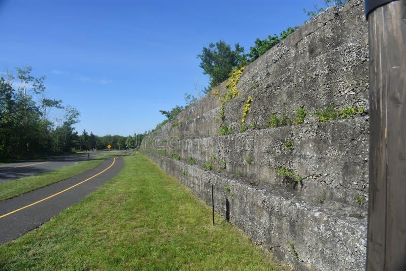 Abandoned Fort Hancock, Sandy Hook, NJ -05. Stone wall of abandoned Fort Hancock in Sandy Hook, New Jersey, USA stock photography
