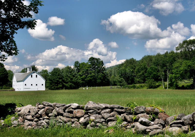 Download Stone Wall and Barn stock photo. Image of clouds, leaves - 14828744