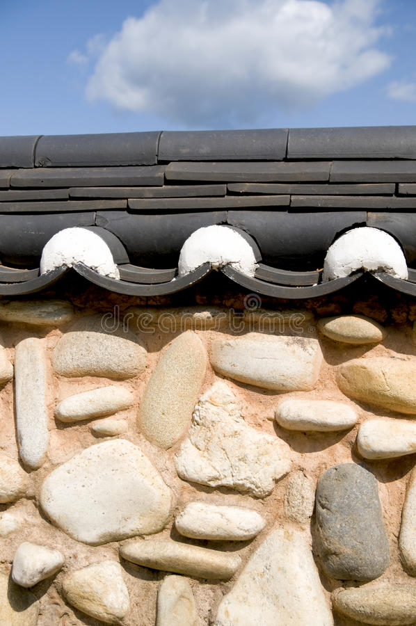 Stone Wall and Clay Tiles - Korea royalty free stock images