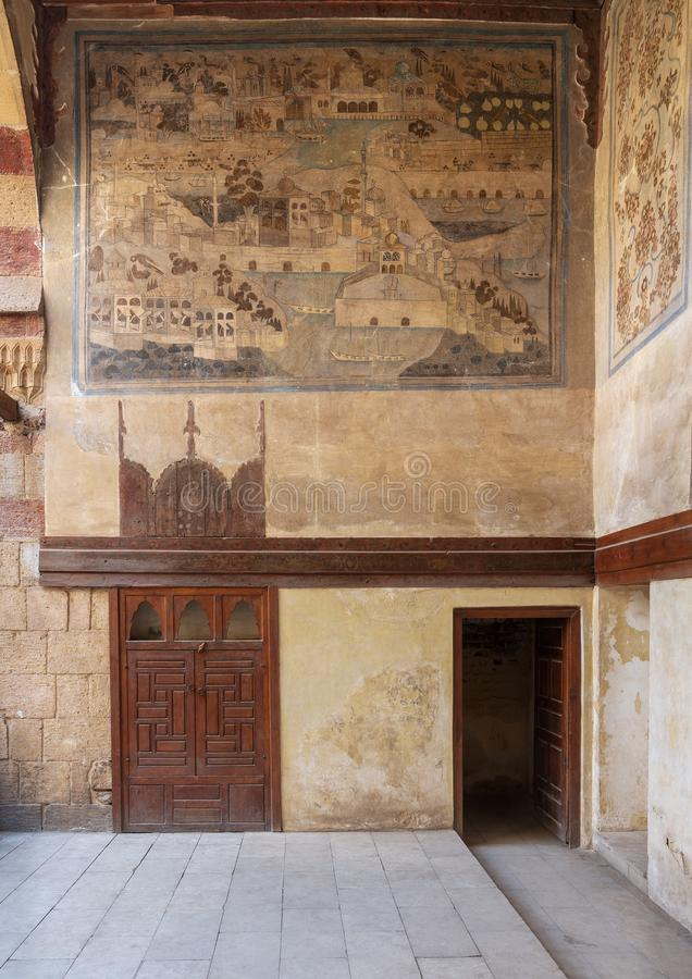 Stone wall decorated with mural depicting Istanbul city at ottoman historic Waseela Hanem House, Old Cairo, Egypt stock image