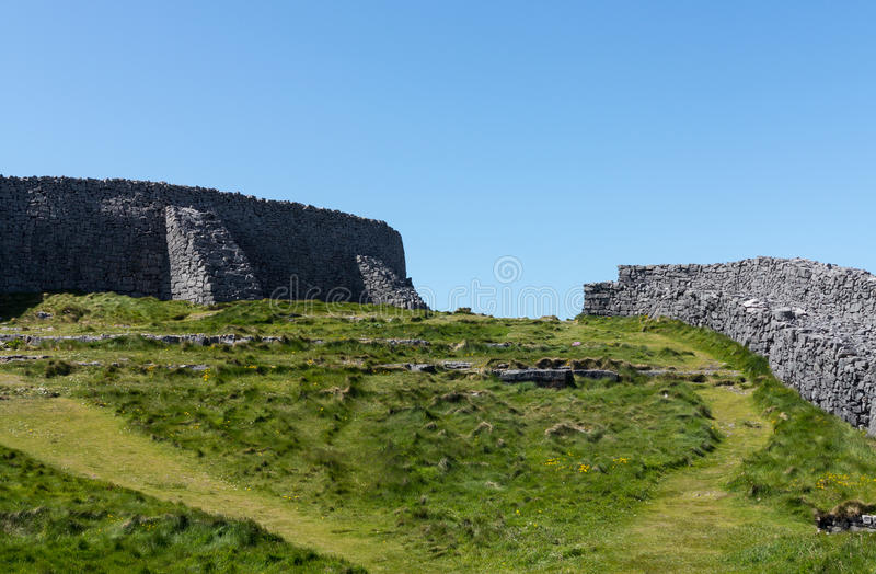 Stone wall at Dun Aonghasa Aran Islands. Dun Aonghasa or Dun Aengus is the most famous of several prehistoric forts on the Aran Islands of County Galway, Ireland stock photos