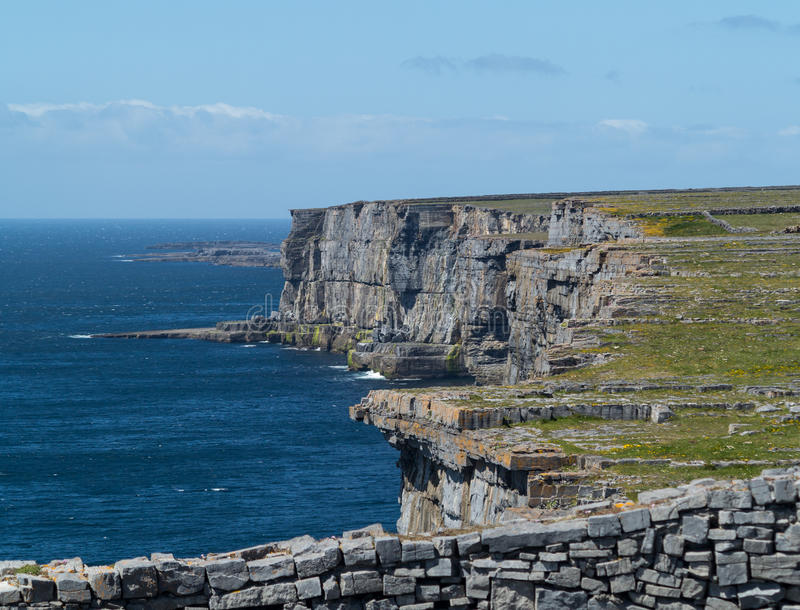 Stone wall at Dun Aonghasa Aran Islands. Dun Aonghasa or Dun Aengus is the most famous of several prehistoric forts on the Aran Islands of County Galway, Ireland stock photography