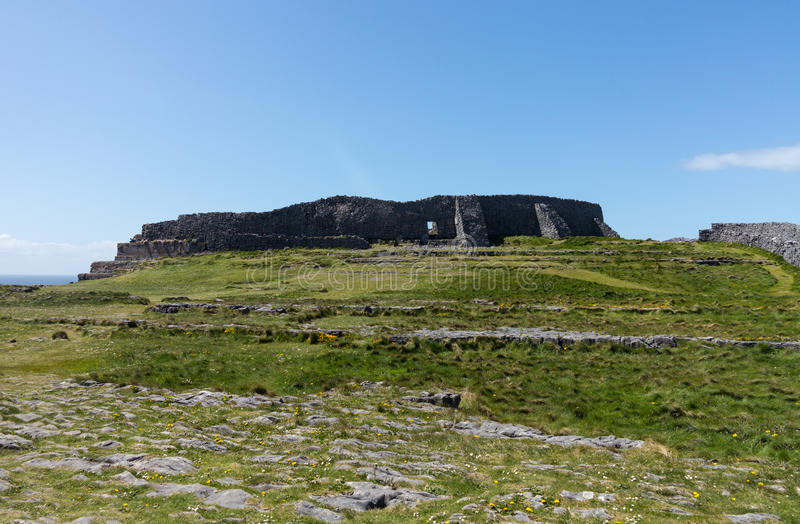 Stone wall at Dun Aonghasa Aran Islands. Dun Aonghasa or Dun Aengus is the most famous of several prehistoric forts on the Aran Islands of County Galway, Ireland royalty free stock image