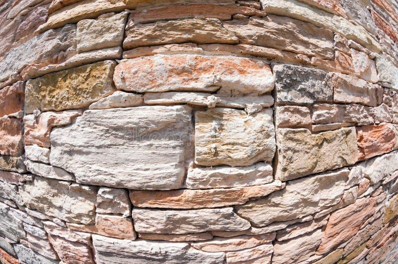 Stone wall fisheye stock photos