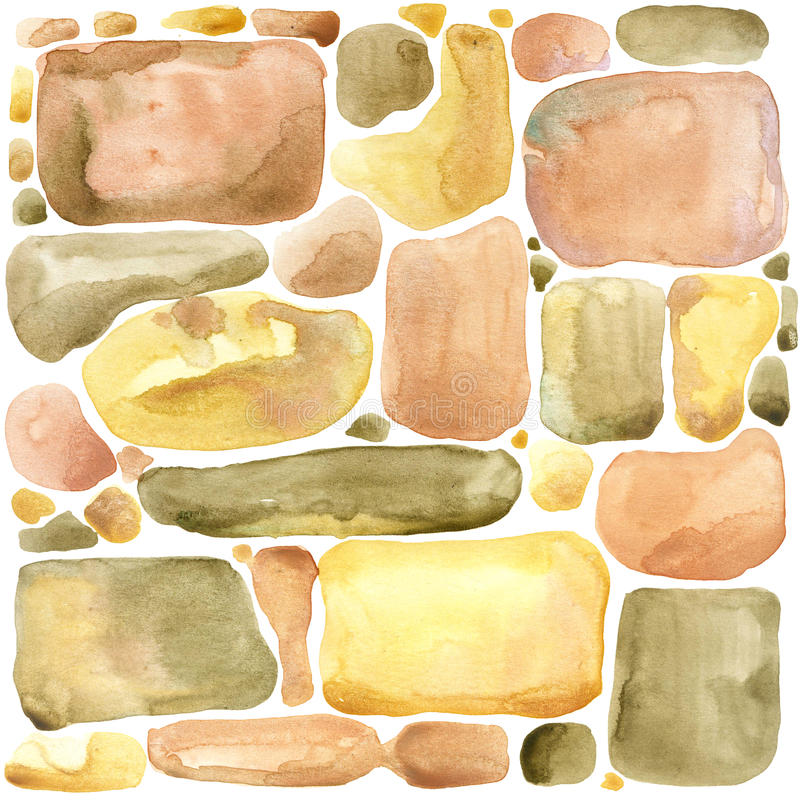 Stone wall Gold palette watercolor background stock illustration