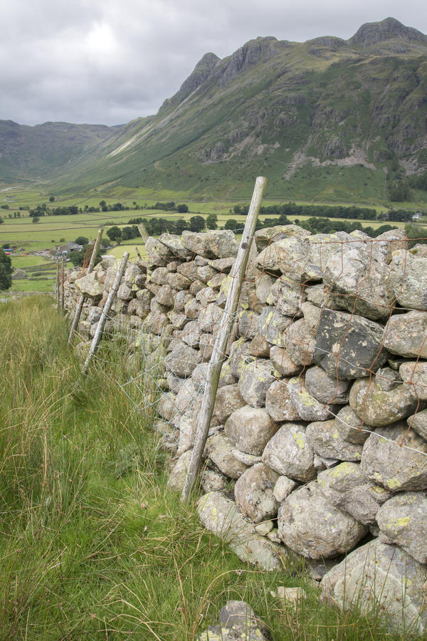 Stone Wall in Great Langdale Valley, Lake District. England, UK royalty free stock photo