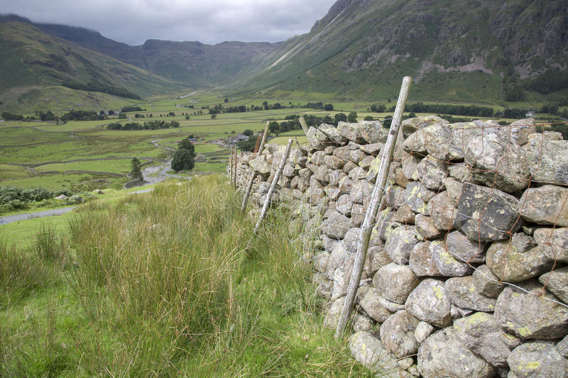 Stone Wall in Great Langdale Valley, Lake District. England, UK stock images