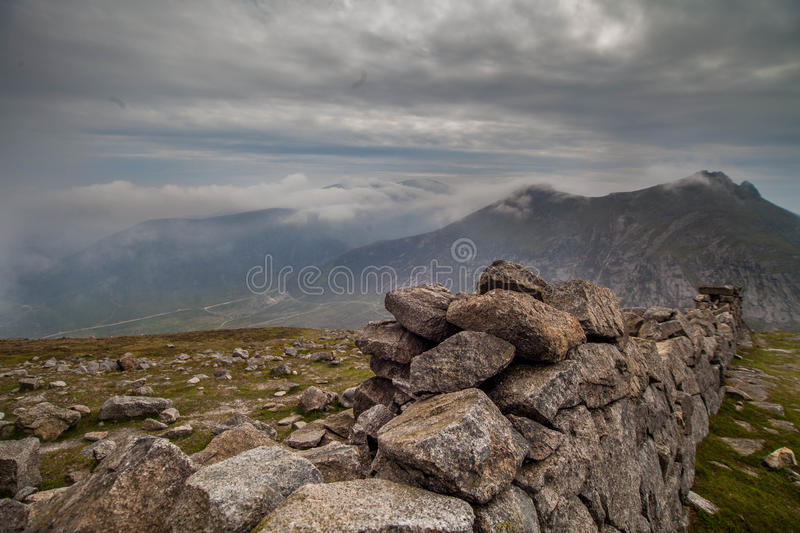 Stone wall on Mourne Mountains, Northern Ireland stock images
