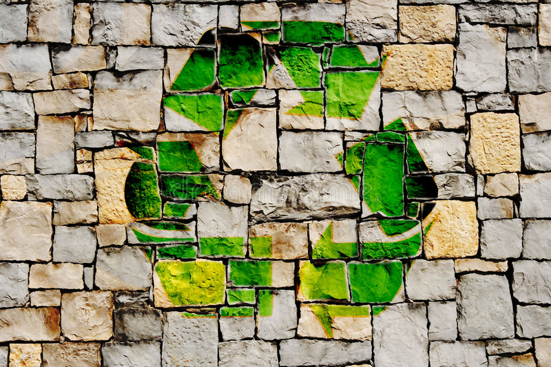 Stone wall with recycle symbol. On it vector illustration