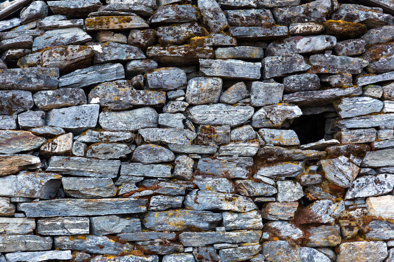 Stone Wall of rural Building made with manual work only. Stone Wall of rural Building made with manual work without linking solution of small pieces of rocks stock image