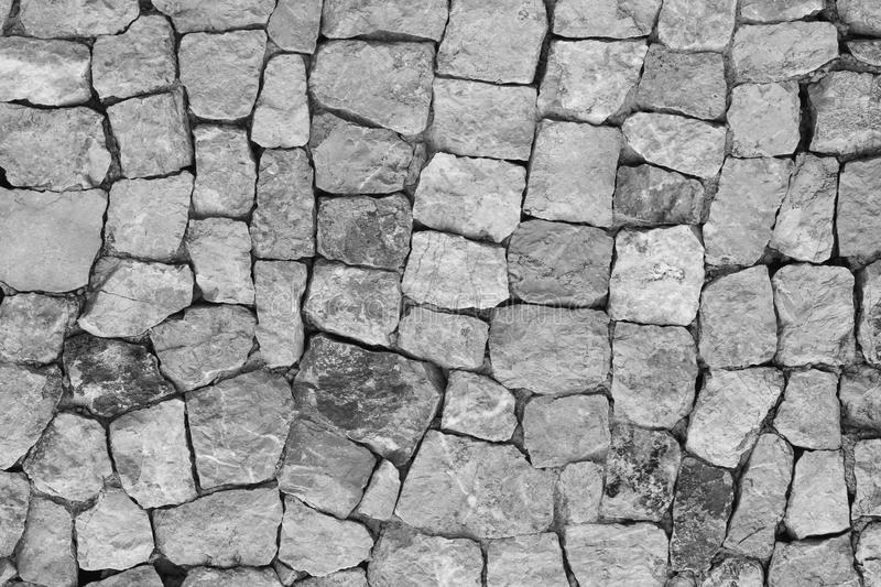 Stone wall texture. Black and white Stone Beautiful surface royalty free stock images