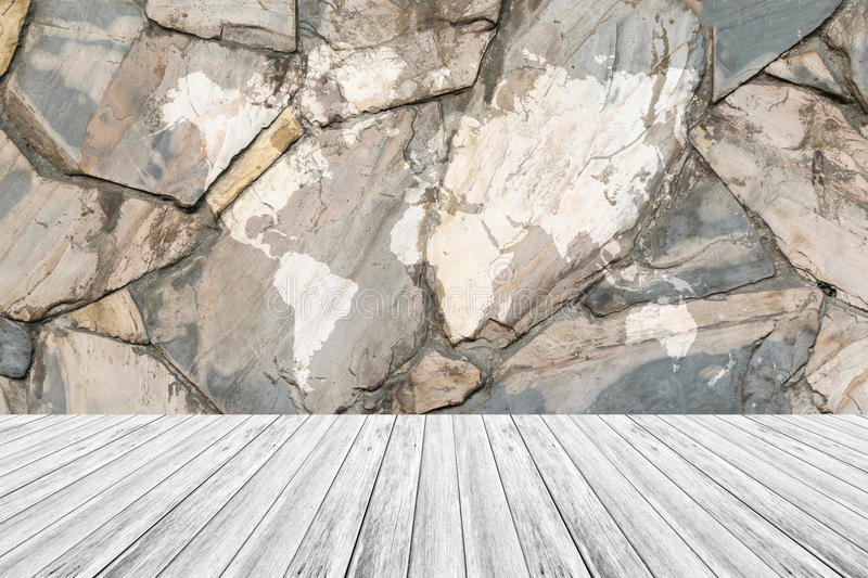Stone wall texture with white wood terrace and world map stock download stone wall texture with white wood terrace and world map stock photo image gumiabroncs Gallery