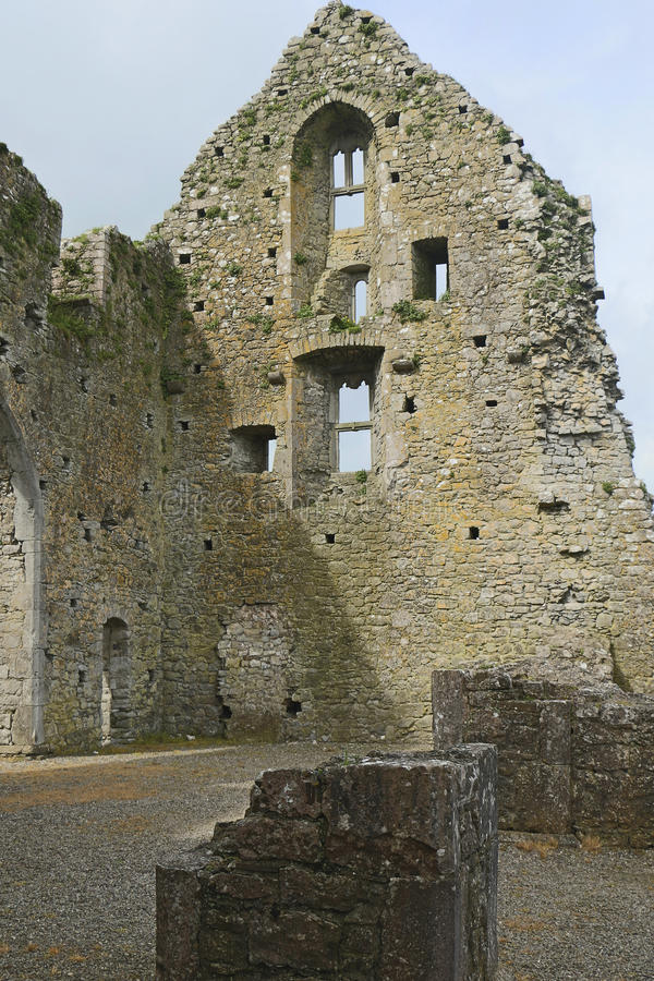 Stone wall and windows, Hore Abbey, Cashel, Co Tipperary royalty free stock photo