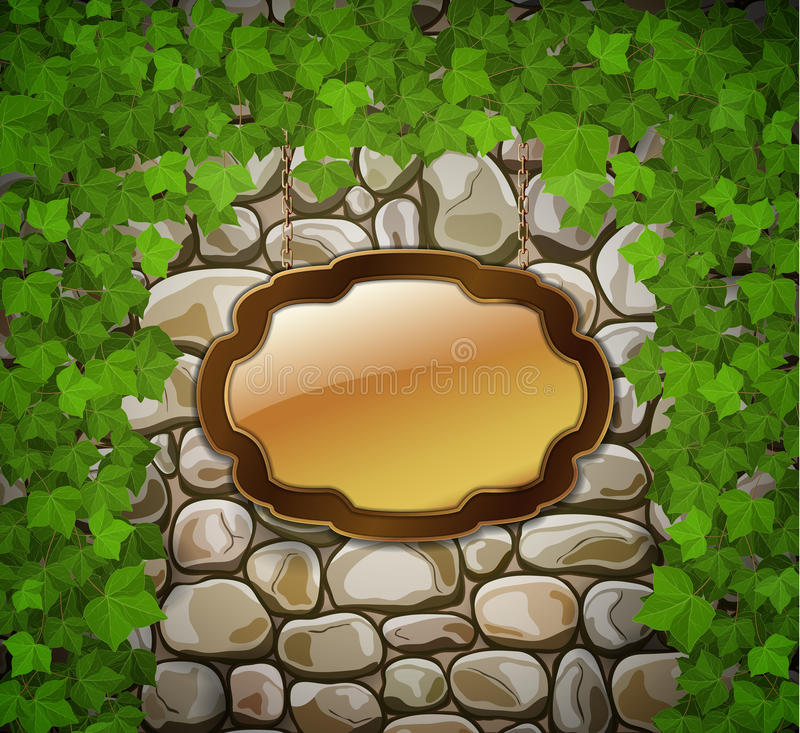 Download Stone Wall With Wooden Shield Stock Vector - Image: 39125272