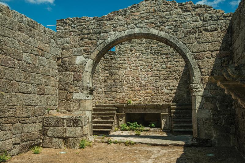 Stone walls and arch at ruins of the Church of Mercy stock photo