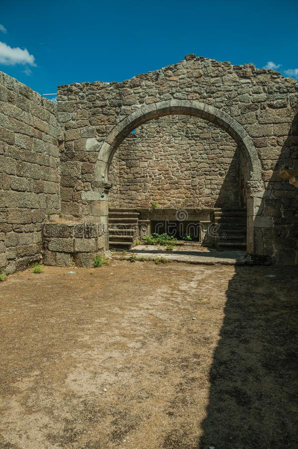 Stone walls and arch at ruins of the Church of Mercy royalty free stock image
