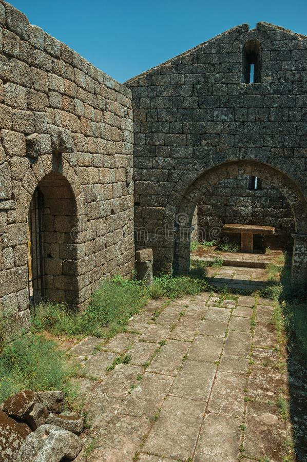 Stone walls and arches at ruins of church near Monsanto stock image