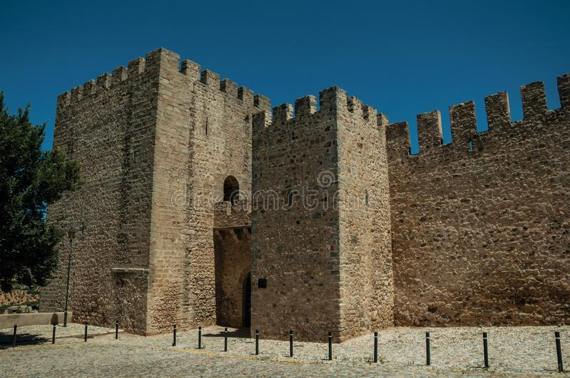 Stone walls and towers in the front facade of the Elvas Castle royalty free stock photography