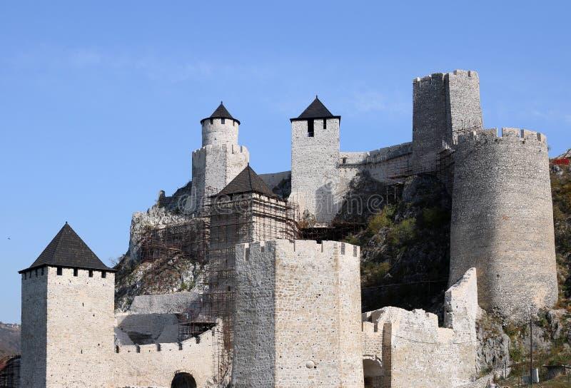 Stone walls and towers Golubac fortress landmark stock photos