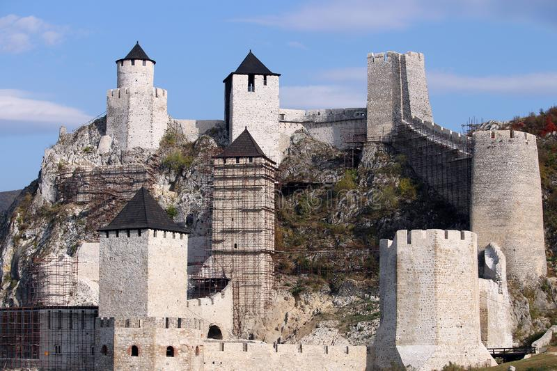 Stone walls and towers Golubac fortress royalty free stock photo