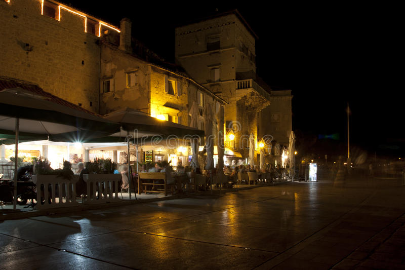 Stone walls in Trogir. Trogir city night scene at the stone walls royalty free stock photography
