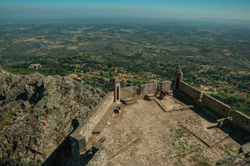 Stone walls and watchtowers at the Marvao Castle royalty free stock photos