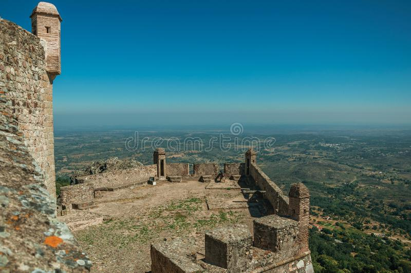Stone walls and watchtowers at the Marvao Castle stock photos