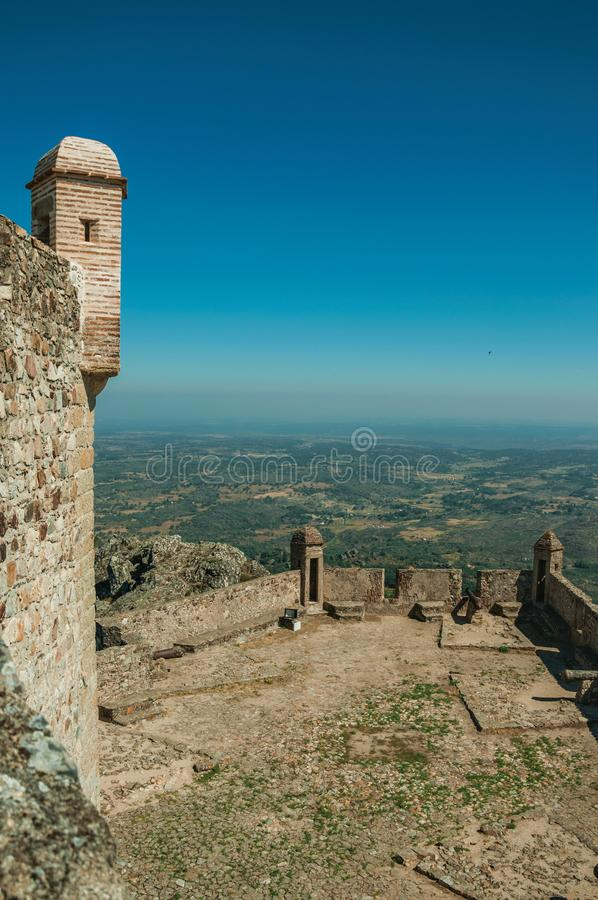 Stone walls and watchtowers at the Marvao Castle stock photo