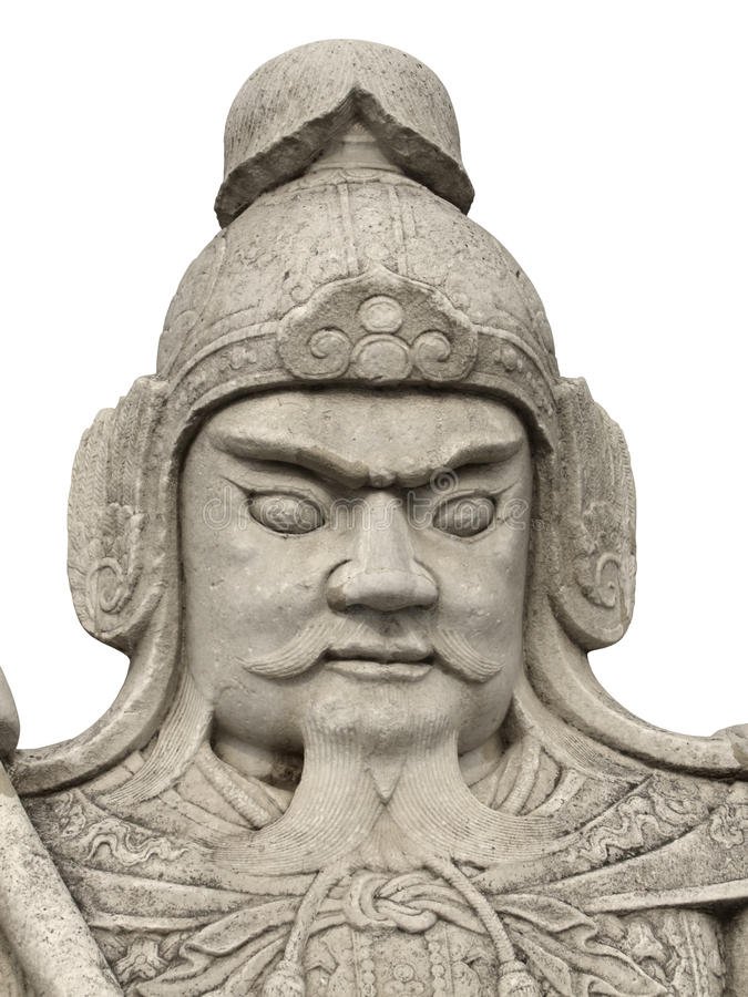 Stone warrior. Detail of a historic chinese stone sculpture located at the Ming Dynasty Tombs (located some 50 kilometers due north of urban Beijing) at a stock photography