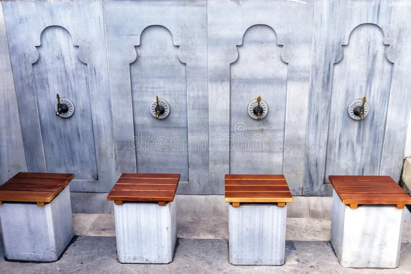 Stone Washbasins for Prayer in Prishtina, Kosovo. Stone washbasins for prayer in mosque in Prishtina, Kosovo royalty free stock photos