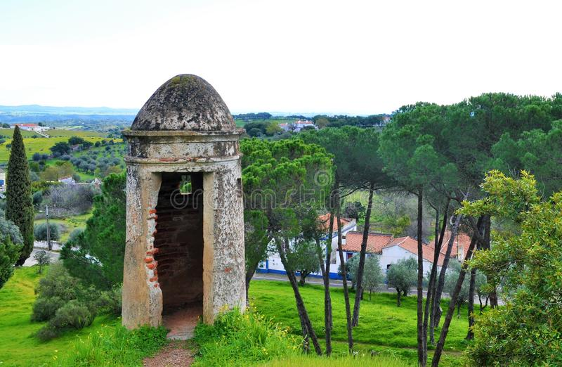 The stone watchtower and the green landscape of Alentejo royalty free stock image