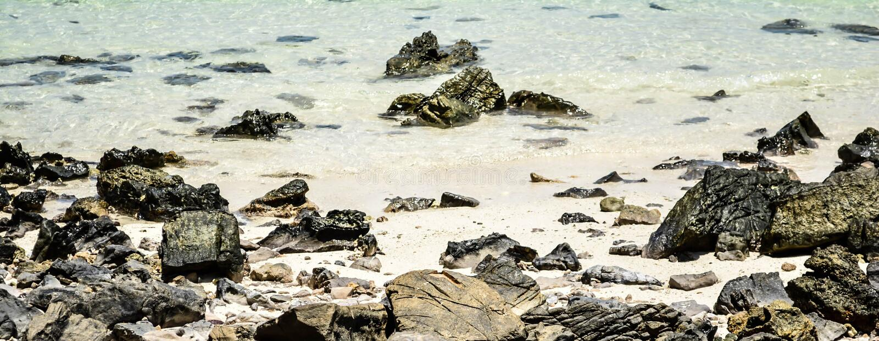Stone water and beautyful sand stock photo