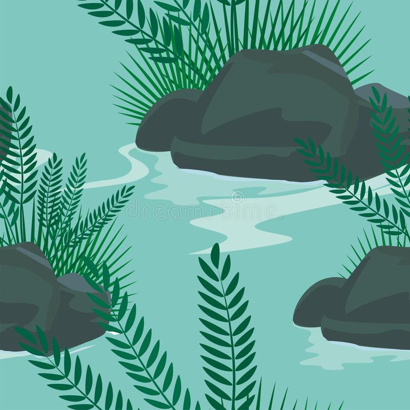 Stone in the water with grass Seamless pattern design stock illustration