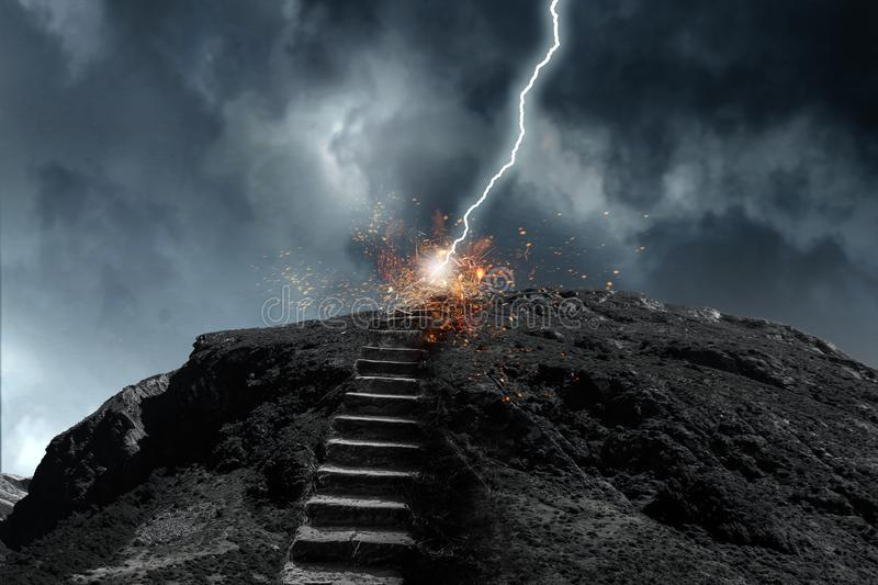 Stone way going up. Mixed media. Stone way going up and lightning strike the top. Mixed media royalty free stock images