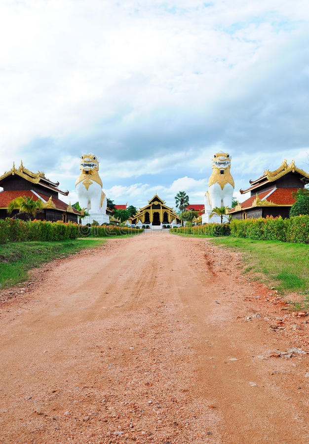 Stone way to the traditional Burma palace stock photography