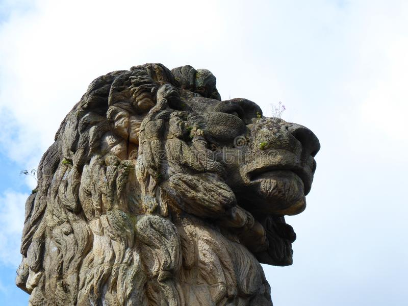 Stone weathered lion face statue. royalty free stock photos